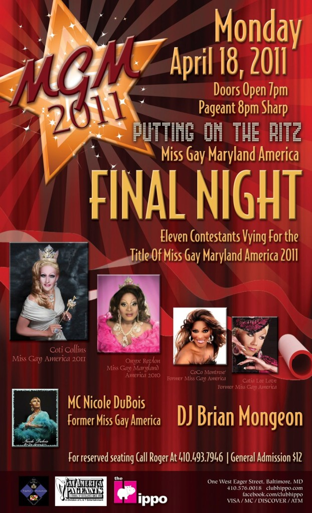Show Ad   Miss Gay Maryland America   Club Hippo (Baltimore, Maryland)   4/18/2011