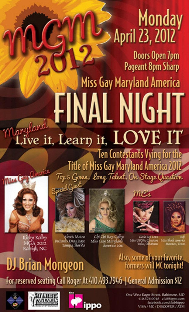Show Ad   Miss Gay Maryland America   Club Hippo (Baltimore, Maryland)   4/23/2012