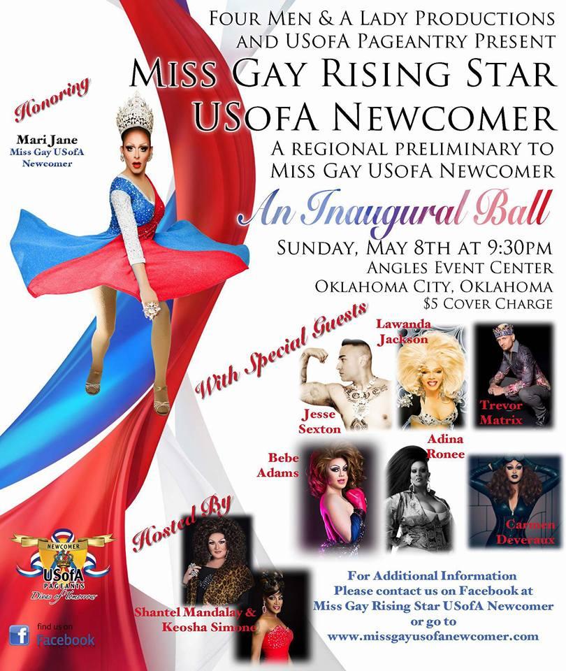 Show Ad   Miss Gay Rising Star USofA Newcomer   Angles Event Center (Oklahoma City, Oklahoma)   5/8/2016