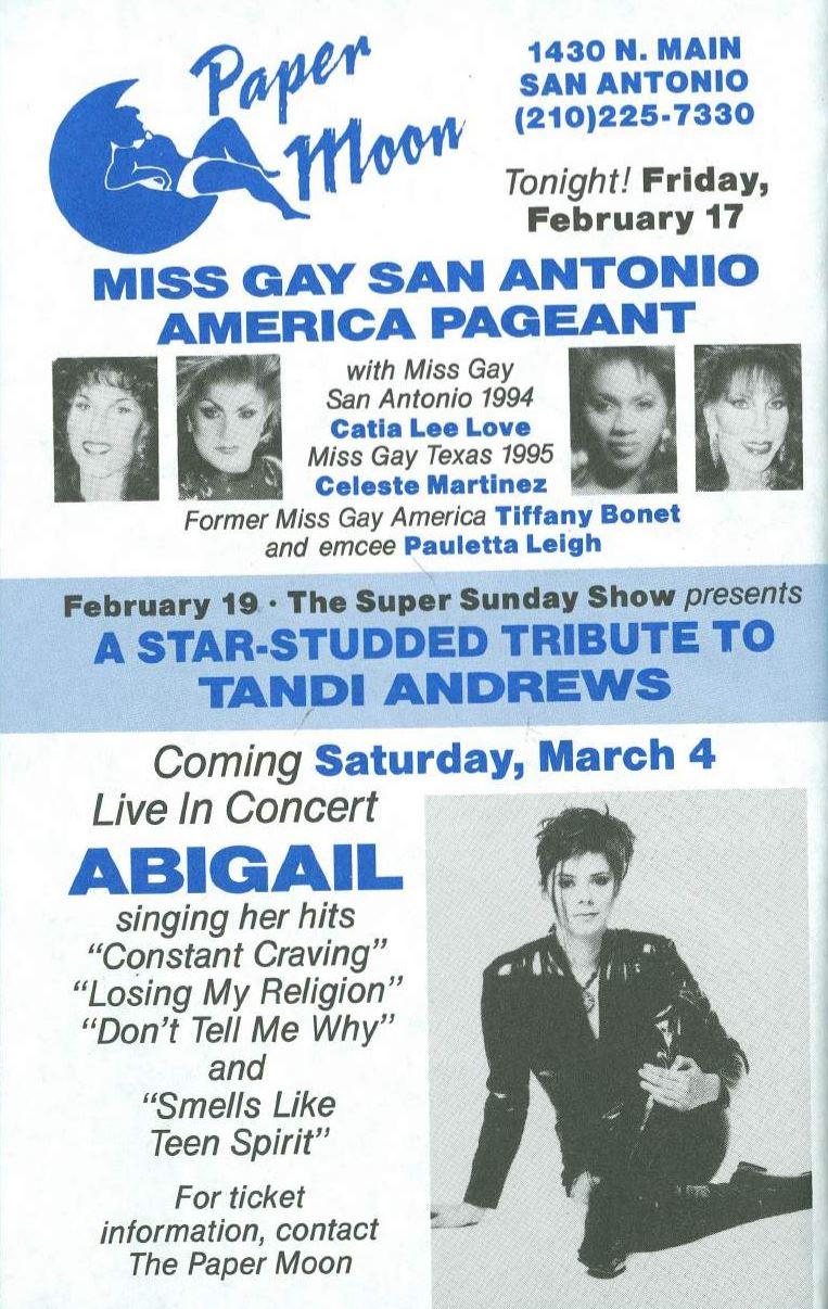 Show Ad   Miss Gay San Antonio America   Paper Moon (San Antonio, Texas)   2/17/1995
