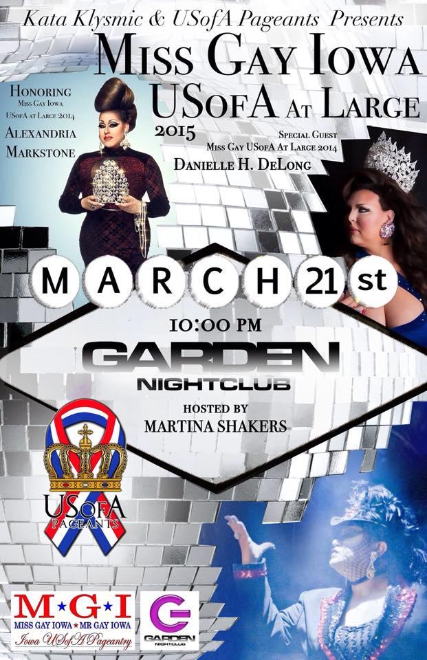 Show Ad   MIss Gay Iowa USofA at Large   Garden Nightclub (Des Moines, Iowa)   3/21/2015
