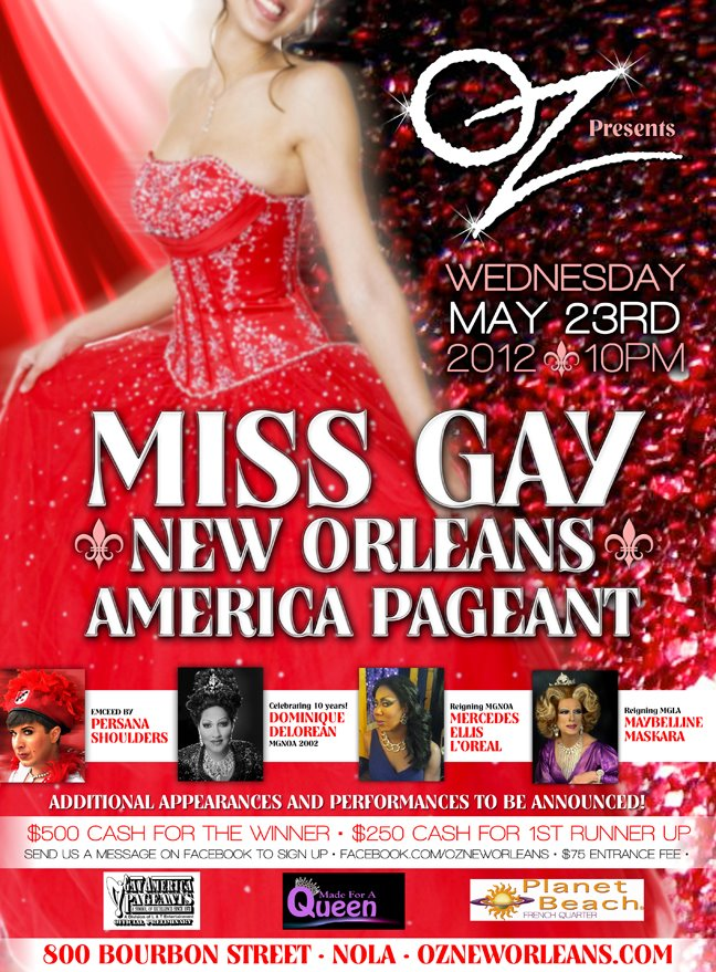 Show Ad   Miss Gay New Orleans America   Oz (New Orleans, Louisiana)   5/23/2012
