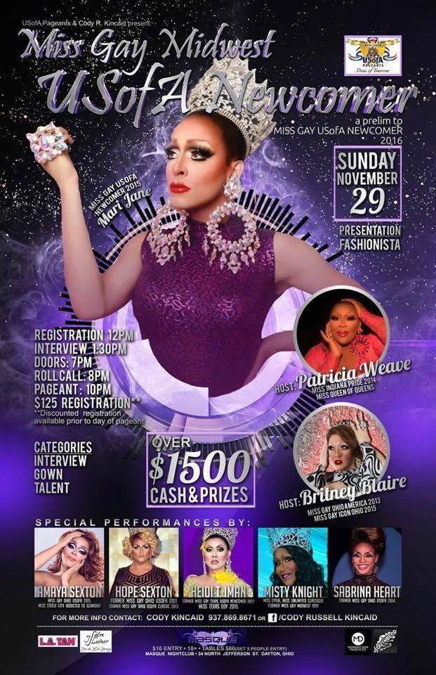 Show Ad   Miss Gay Midwest USofA Newcomer   Masque NIght Club (Dayton, Ohio)   11/29/2015