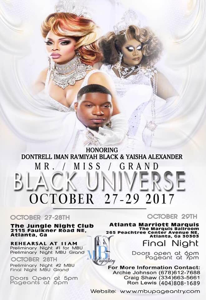 Show Ad   Mr., Miss and Grand Black Universe   The Jungle Night Club & Atlanta Marriott Marquis (Atlanta, Georgia)   10/27-10/29/2017
