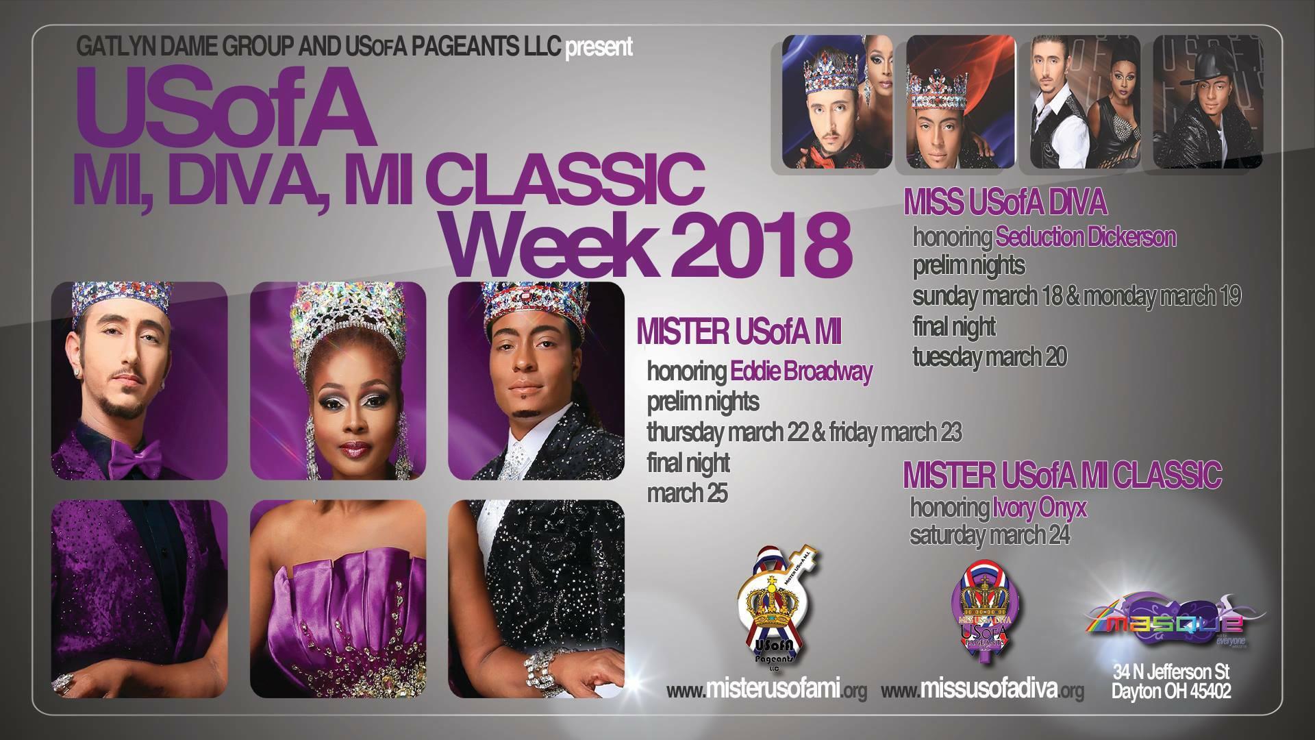 Show Ad   Miss USofA Diva, Mister USofA M.I. and Mister USofA M.I. Classic   Masque (Dayton, Ohio)   3/18-3/24/2018