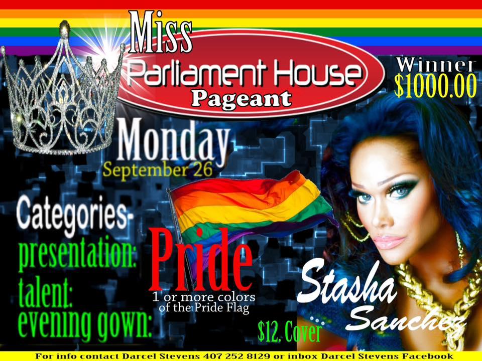 Show Ad | Miss Parliament House | Parliament House (Orlando, Florida) | 9/26/2016