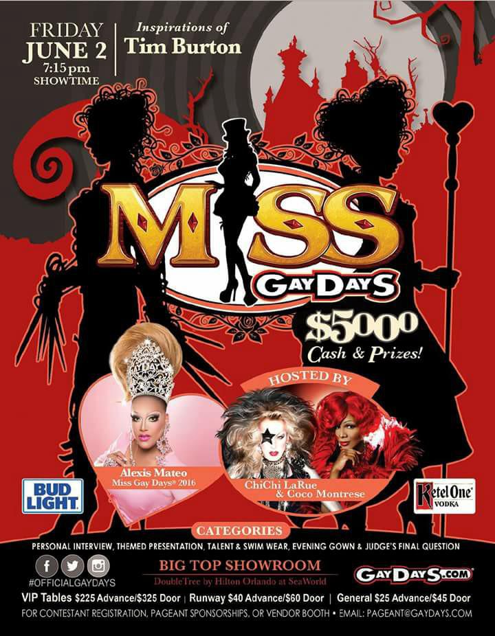 Show Ad | Miss Gay Days | Big Top Showroom | Double Tree by Hilton Orlando at Sea World (Orlando, Florida) | 6/2/2017