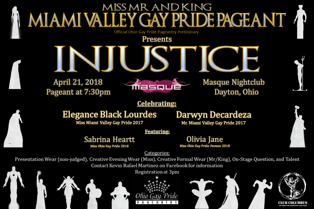 Show Ad | Miss Miami Valley Gay Pride, Mr. Miami Valley Gay Pride and Mr. Miami Valley Gay Pride King | Masque (Dayton, Ohio) | 4/21/2018