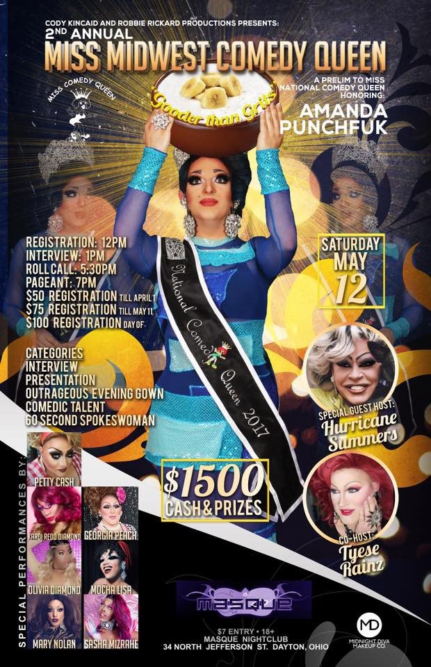 Show Ad   Miss Midwest Comedy Queen   Masque (Dayton, Ohio)   5/12/2018