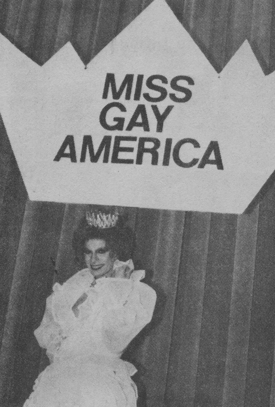 Jennifer Foxx, moments after being crowned as Miss Gay America 1982. (Dallas Convention Center; Dallas, TX; September 1981)