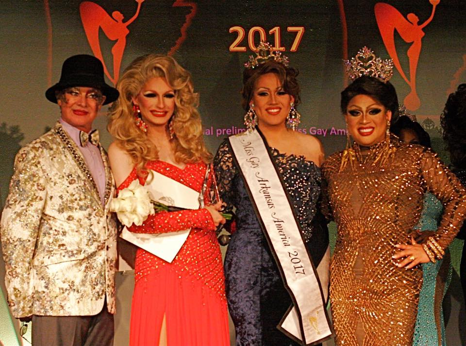 Norma Kristie (Miss Gay America 1972), Roxie Starrlite (1st Alternate to Miss Gay Arkansas America 2017), Cassandra Rae Reality (Miss Gay Arkansas America 2017) and Suzy Wong (Miss Gay America 2017) at the Miss Gay Arkansas America pageant at Discovery Nightclub in Little Rock, Arkansas on the night of August 12th, 2017.