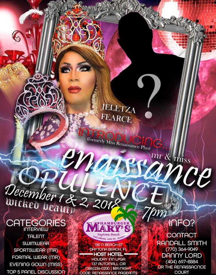 Ad   Mr. and Miss Renaissance Opulence   Hamburger Mary's (Daytona Beach, Florida)   12/1-12/2/2018