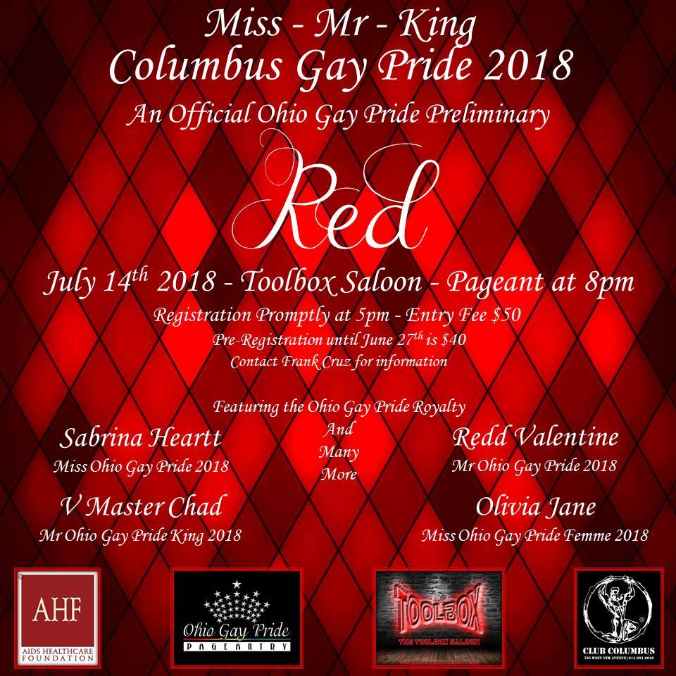 Show Ad | Miss Columbus Gay Pride, Mr. Columbus Gay Pride and Mr. Columbus Gay Pride King | Toolbox Saloon (Columbus, Ohio) | 7/14/2018