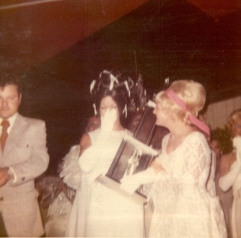 June 25, 1972 - Miss Gay Arkansas Norma Kristie reacts to hearing his name called as the winner of the very first Miss Gay America Pageant on what was coincidentally also his 26th birthday. (Pageant founder Jerry Peek is at left.)