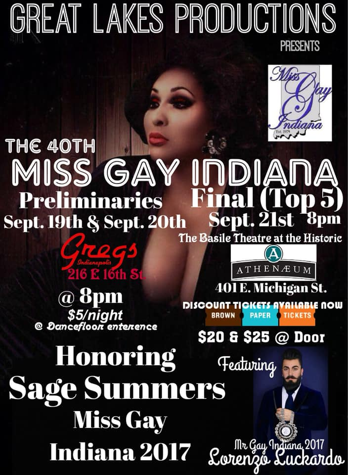 Ad | Miss Gay Indiana | Gregs and the Basile Theatre at the Historic Atheneaum (Indianapolis, Indiana) | 9/19-9/21/2019