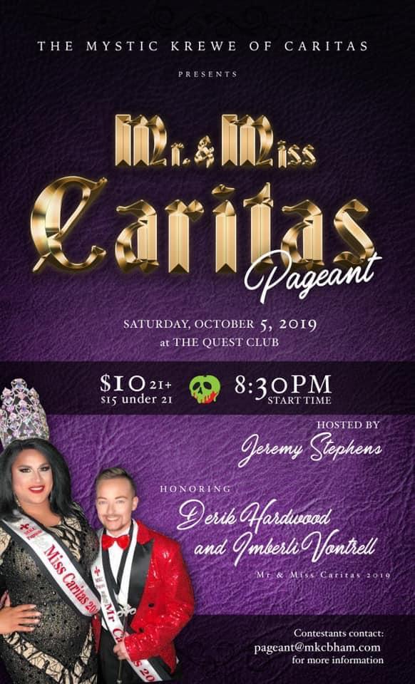 Ad   Mr. and Miss Caritas   Quest Club (Birmingham, Alabama)   10/5/2019