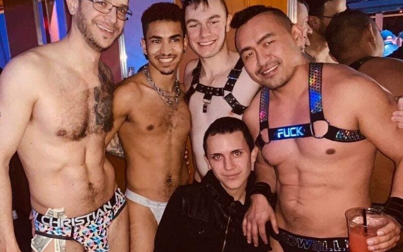 Johnny Dangerously, Zion Kirk, Blake Ellis and Zander Chang pose with a patron at Axis Nightclub (Columbus, Ohio)   February 2020