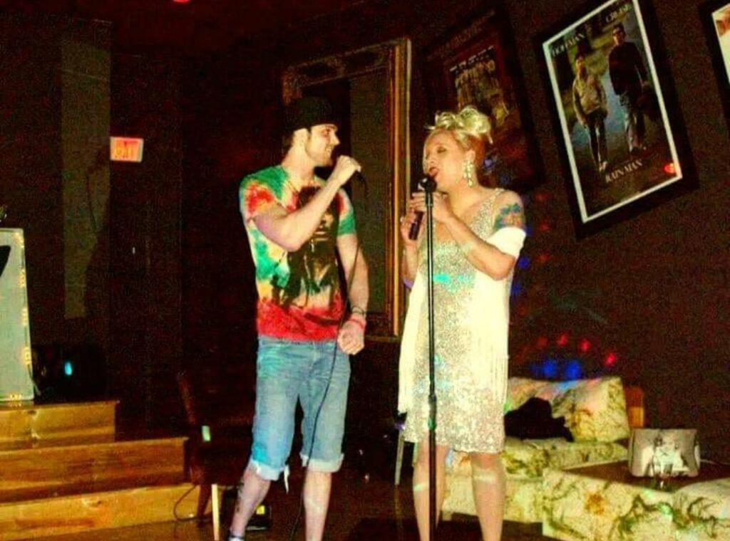 Ronnie Robertson III and Shaneequa Jackson at Karaoke   Hamburger Mary's (Cincinnati, Ohio)   Circa 2009 - 2010