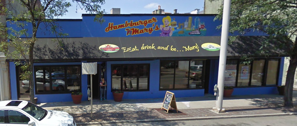 This building here at 909 Vine Street in Cincinnati, Ohio was once the home to Hamburger Mary's. This is as it appeared in a August 2009 Google Street View capture.