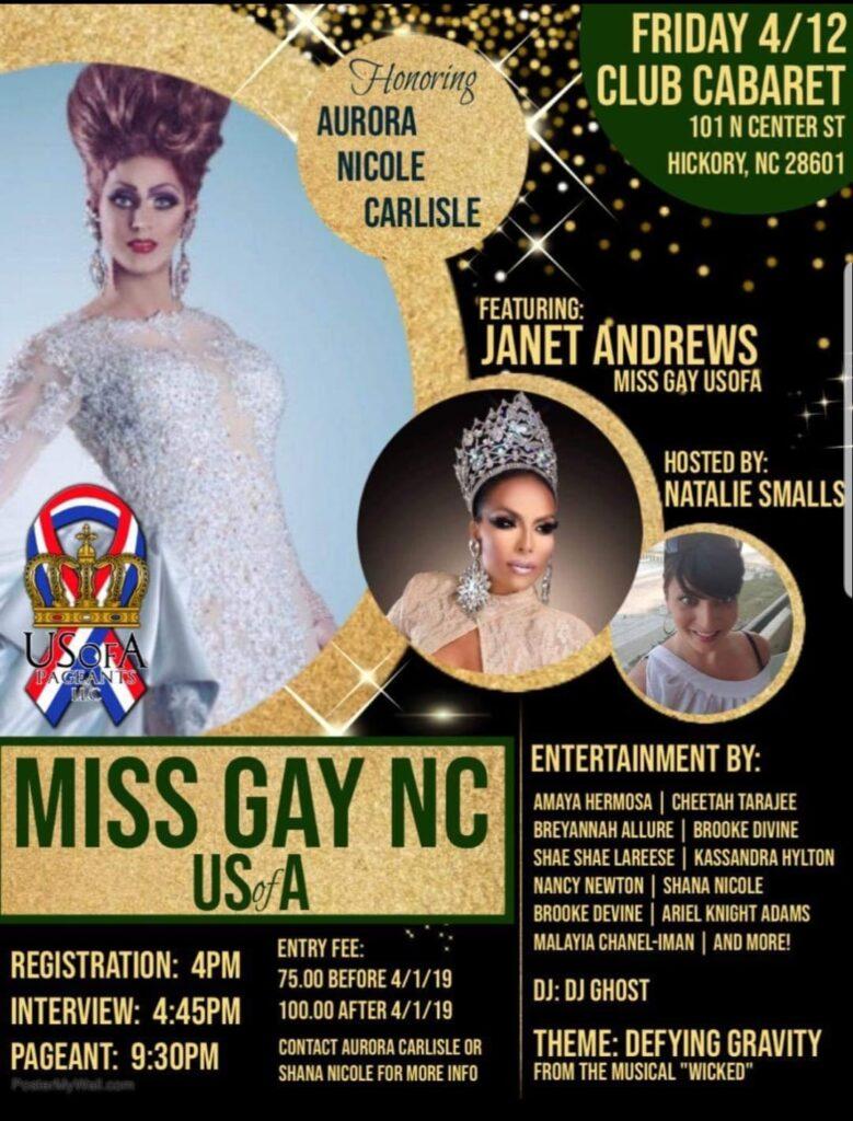 Ad   Miss Gay North Carolina USofA   Club Cabaret (Hickory, North Carolina)   4/12/2019