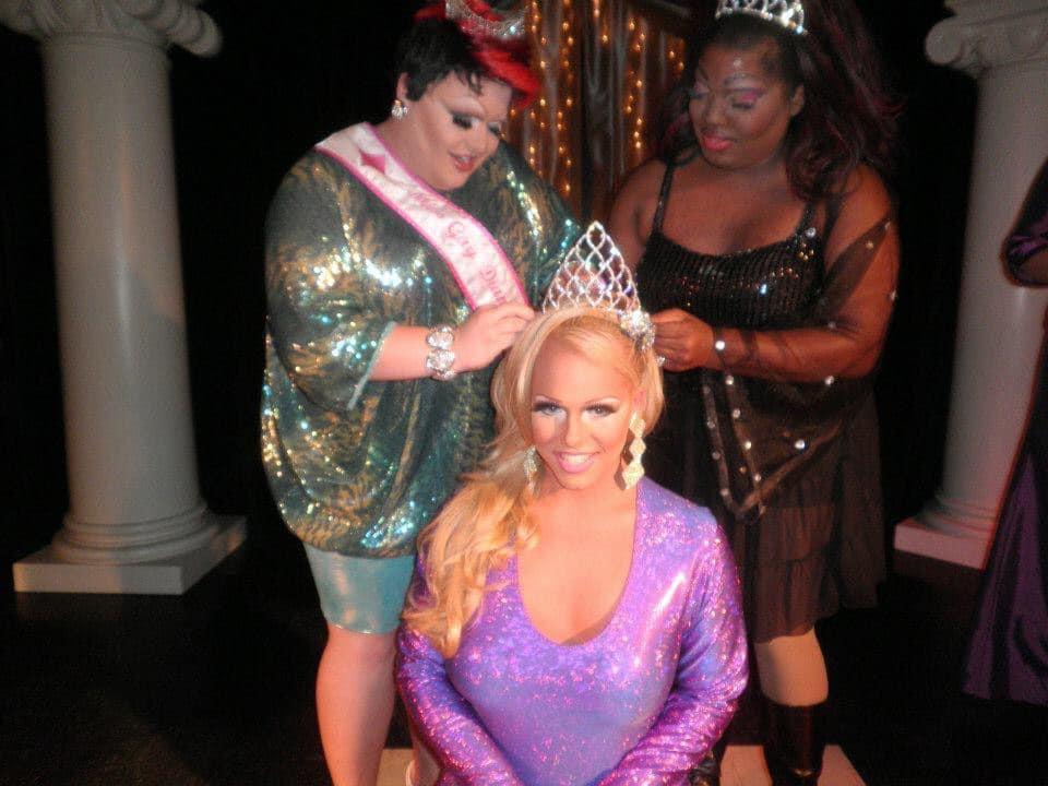 Tiffany Dior is crowned Miss Summer Sizzle 2012 by Shelita Bonet Hoyle (left) and Rayvn Samone Davidson Fontaine (right).   Miss Summer Sizzle   Club Cabaret (Hickory, North Carolina)   Circa 2012