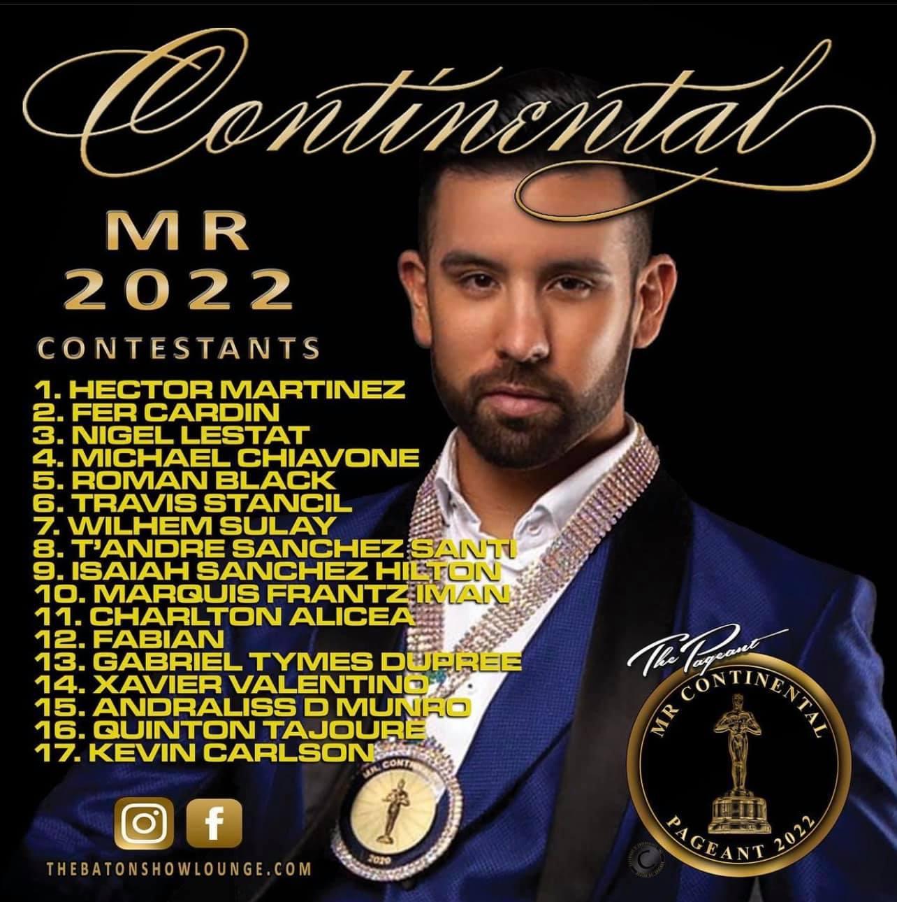 Mr. Continental 2022 Contestants