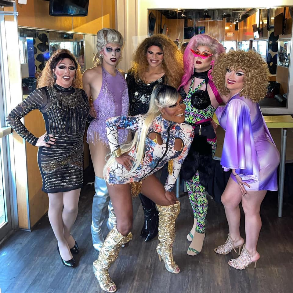 Back: Samantha Rollins, Blonde Vanity, Ava Aurora Foxx, Soy Queen and Cortney Carson; Front: Champagne Bordeaux | Axis Nightclub (Columbus, Ohio) | September 2021