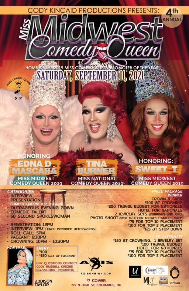 Ad | Miss Midwest Comedy Queen | Axis Nightclub (Columbus, Ohio) | 9/11/2021