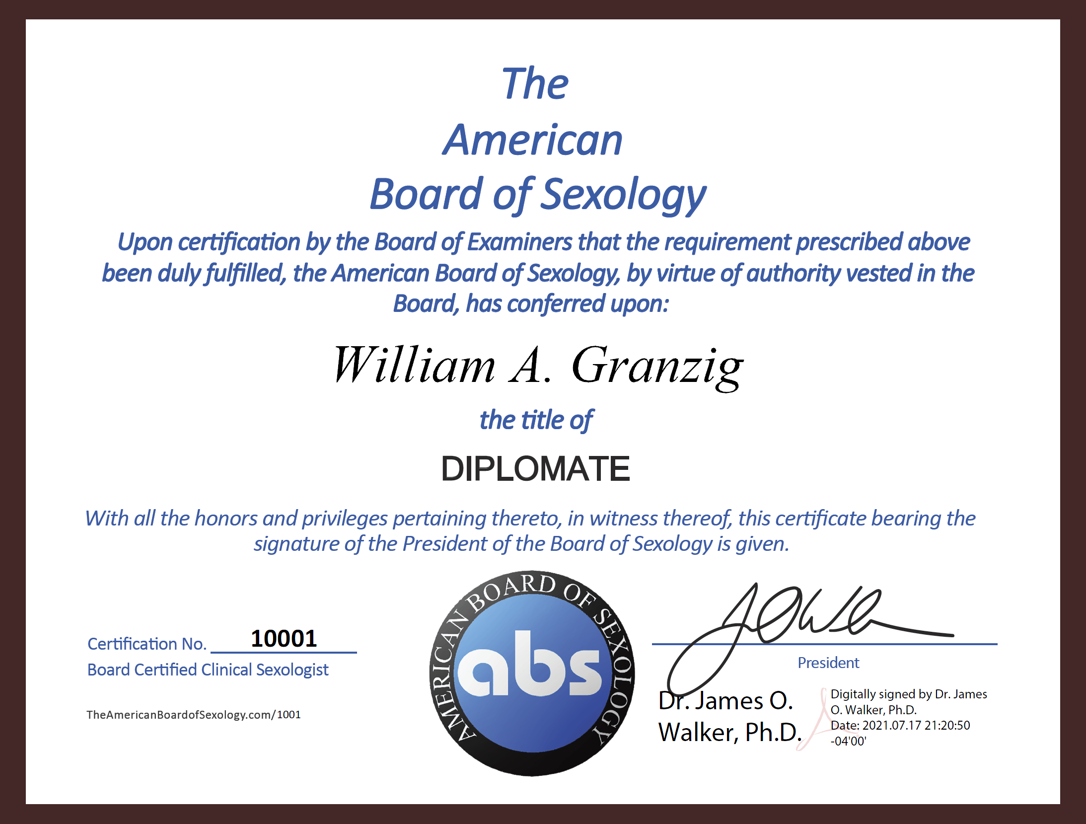 The NEW American Board of Sexology Diplomate Electronic Certificate