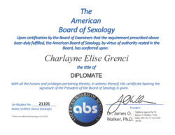 Dr. Charlayne Grenci ABS Certificate