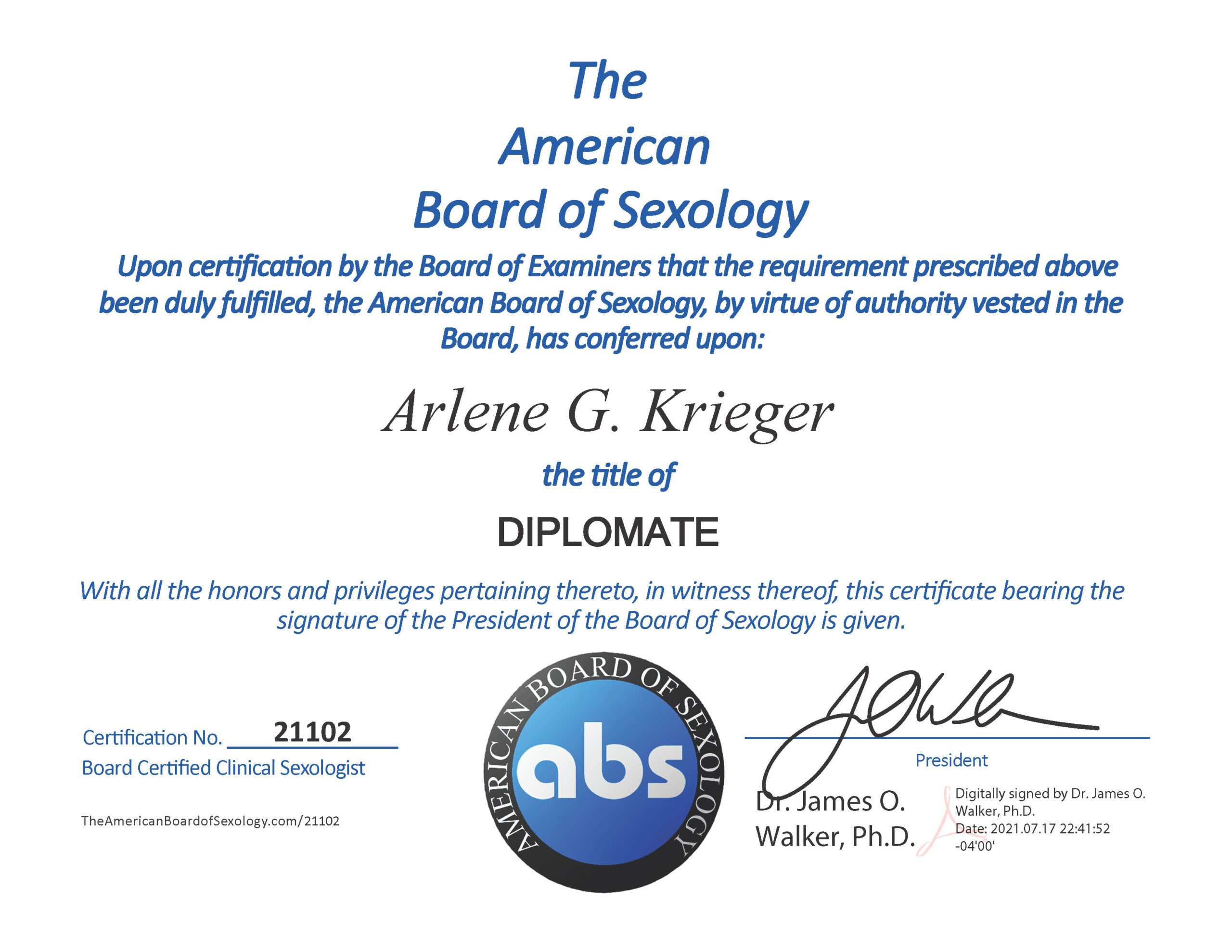 Dr. Arlene Krieger ABS Certificate