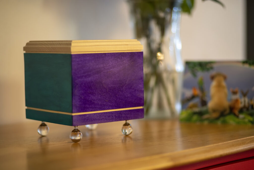 Rainbow Bridge Pet Urn, Purple/Teal Combination. Glass Ball Feet