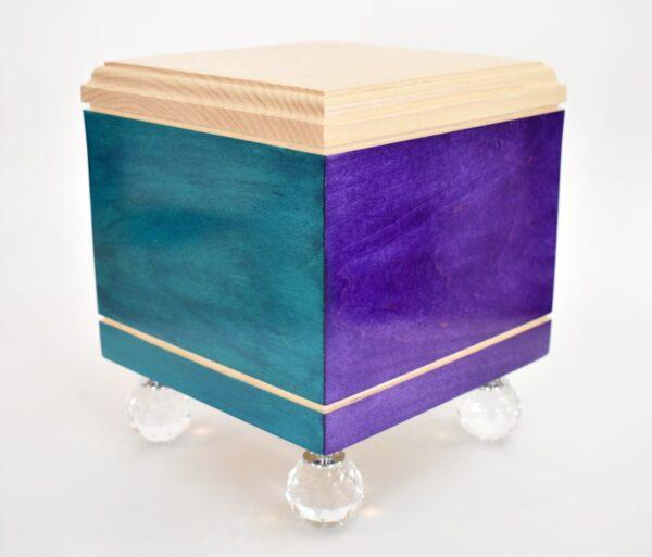 Rainbow Bridge Pet Urn, Purple/Teal Combination. Prism Ball Feet