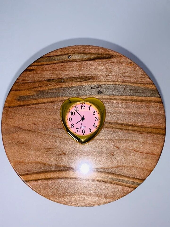 Ambrosia maple cylinder lid with Small Heart Clock, custom add-on feature