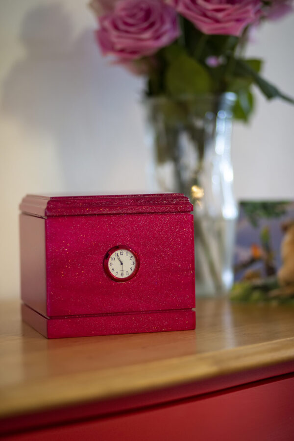 Shimmering Wood Pet Urn in Pink Glitter with Clock