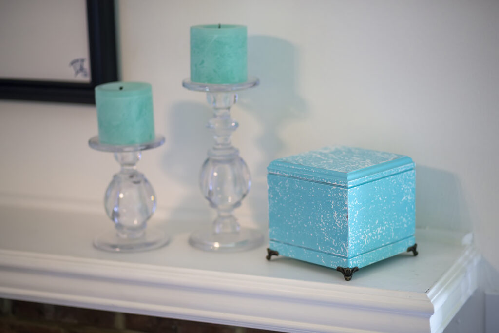 Hardwood pet urn with blue salt wash finish