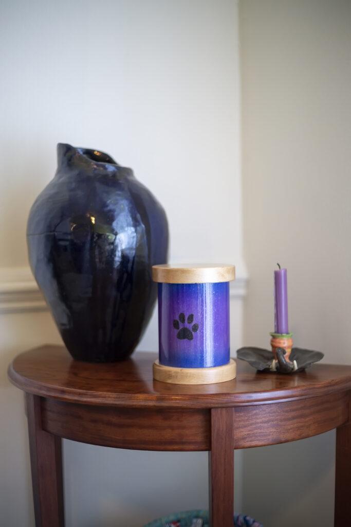 Wood Burned Paw Print Pet Urn
