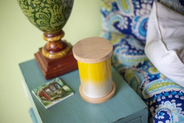 Dignity Series Pet Urn in Lemon Drop, Maple Flat Edge Caps