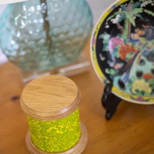 Dignity Series Pet Urn in Green Salt Wash Finish and Oak Caps
