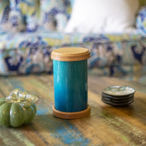 Dignity Series Pet Urn in Turquoise Sparkle and Oak Caps