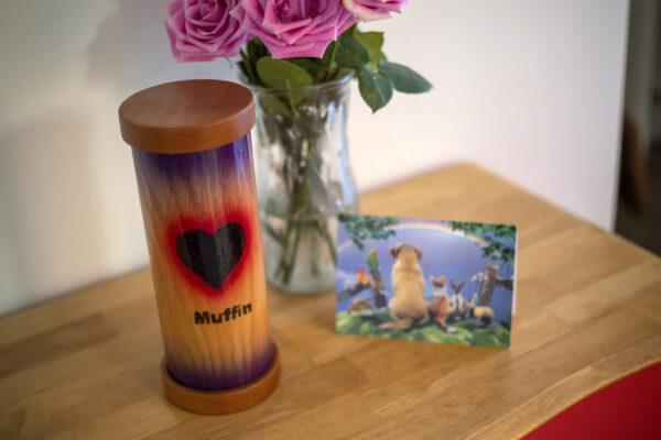 Natural Oak Pet Urn with Wood Burned Heart