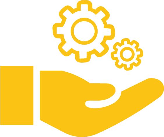 AllTek Staffing Engineering Graphic - Outstretched hand with gears above it graphic