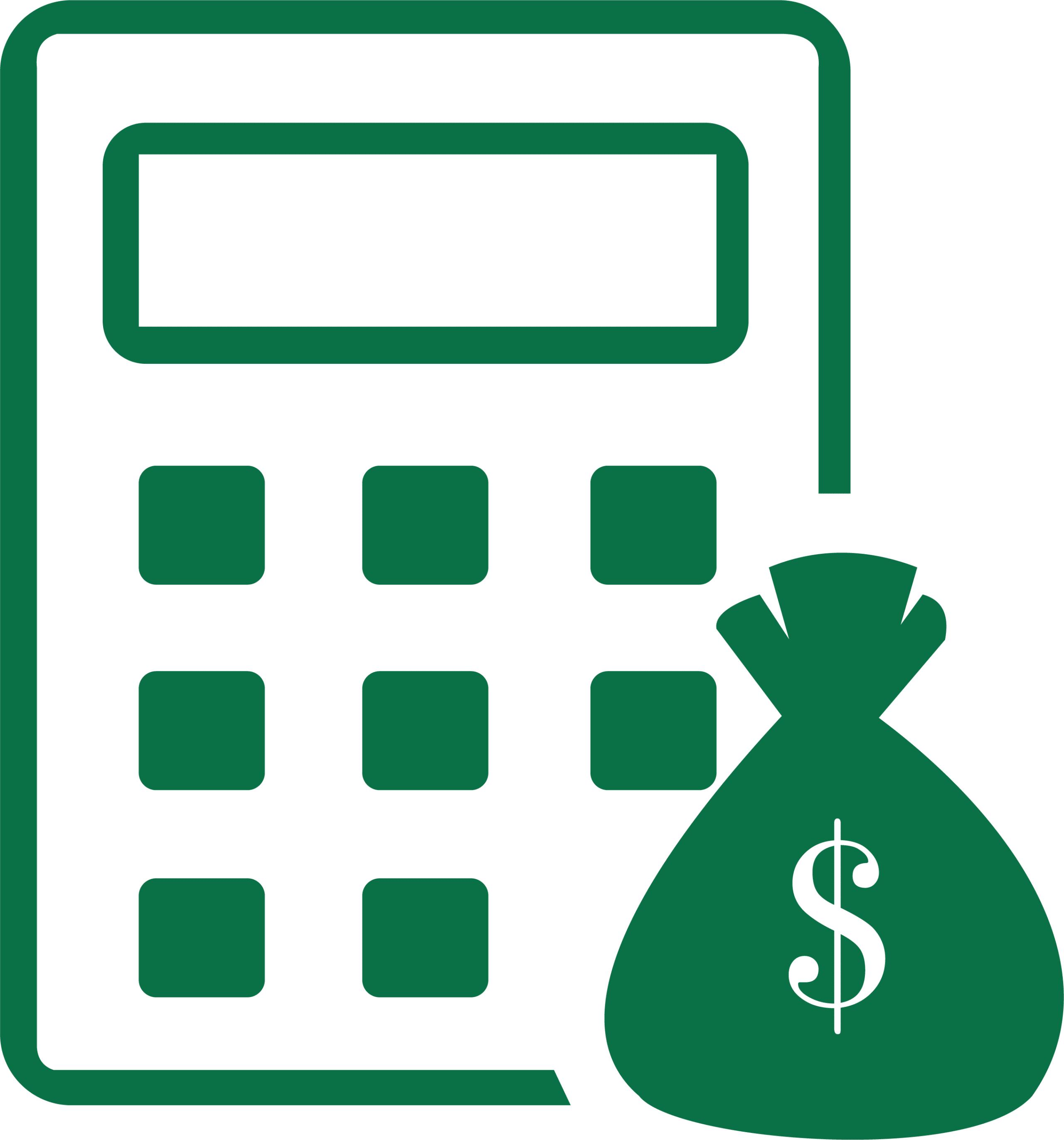 AccountStaff finance professionals graphic - calculator and bag of money graphic