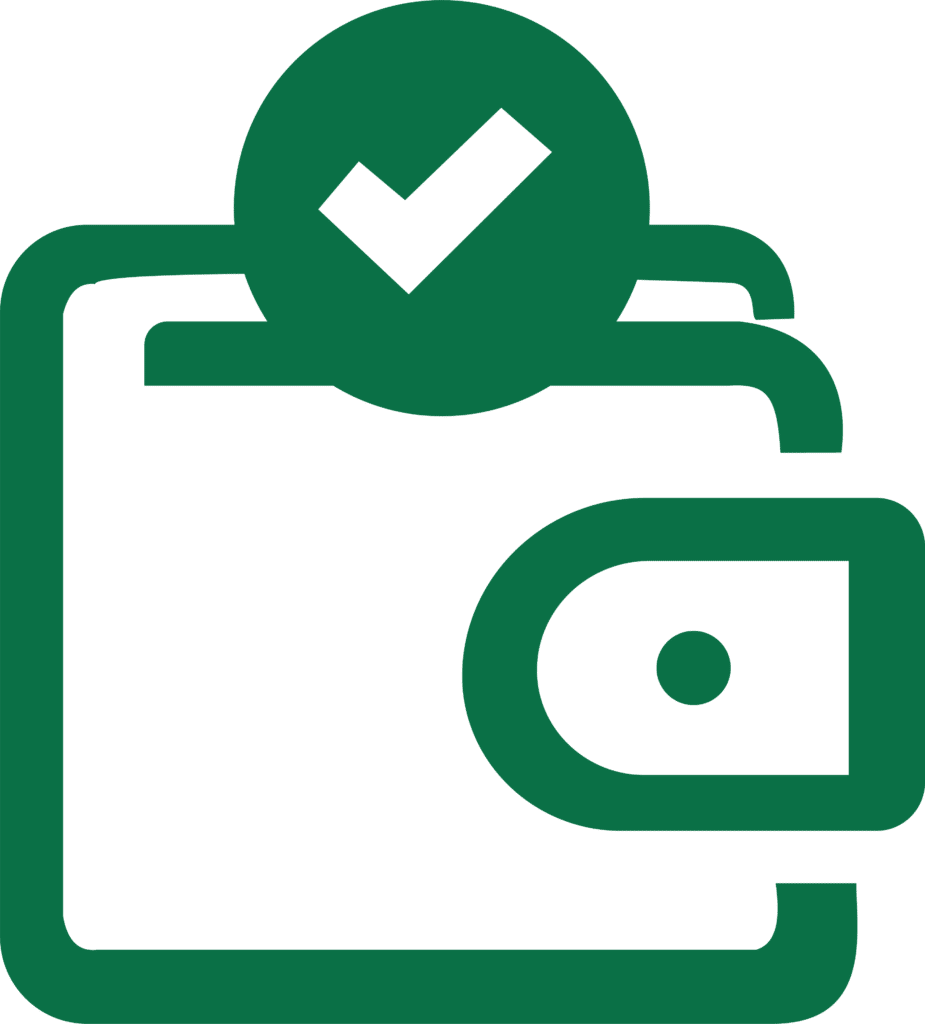 AccountStaff Payroll Graphic - graphic of a wallet with a green checkmark above it