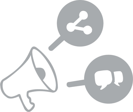 Sterling Office Professionals Sales & Marketing Graphic - Bullhorn with two bubbles showing sales and marketing