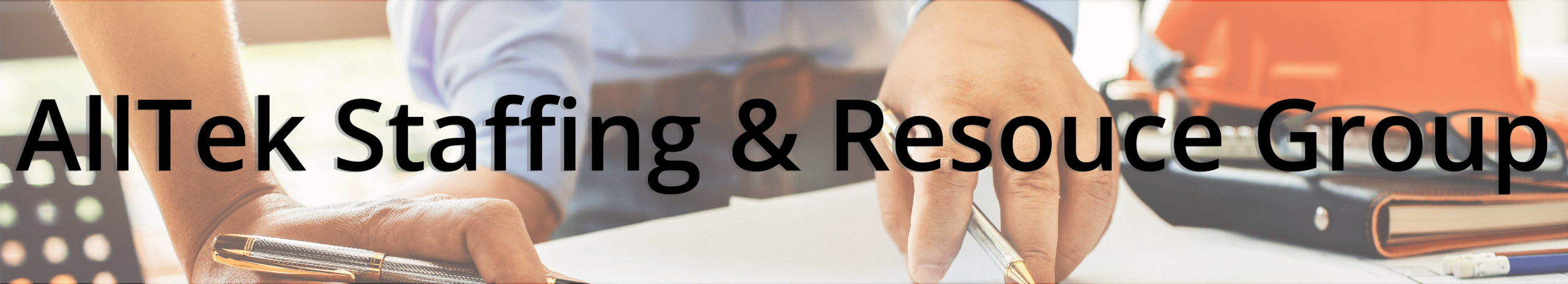 AllTek Staffing & Resource Group Header - Two people discussing and looking at blueprints with the words AllTek Staffing & Resource Group overlaid on top.