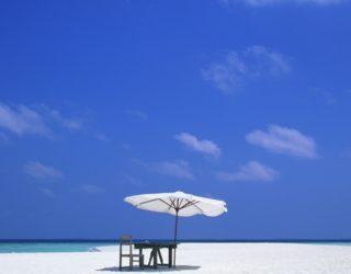 beach scene with table