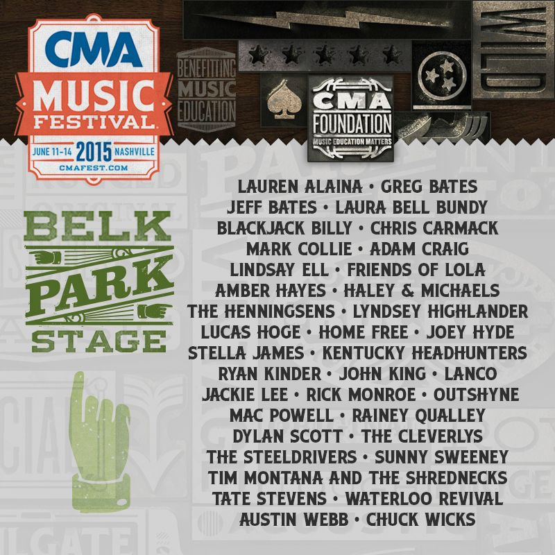 2015 CMA Music Festival Belk Park Stage lineup