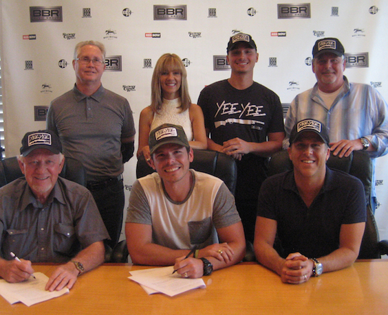 (Pictured Left to Right/ TOP ROW:  BBR Music Group's Rick Shedd and Teddi Bonadies; Tyler Smith, Manager, TS Management, LLC, BBR Music Group's Carson James.  BOTTOM ROW: BBR Music Group's Benny Brown; Granger Smith; BBR Music Group's Jon Loba)