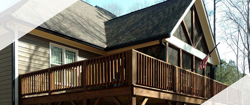Wrenn Home Improvements built this custom deck that wraps around a screened porch